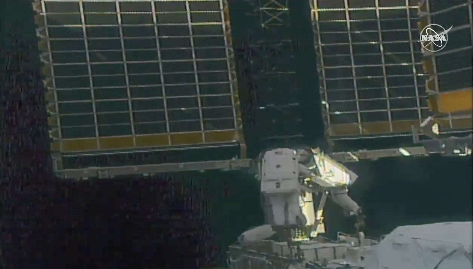 Spacewalkers Shane Kimbrough and Thomas Pesquet working at the Port-6 truss during EVA 74. Credit: NASA TV